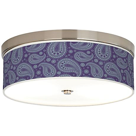 Purple Paisley Linen Giclee Energy Efficient Ceiling Light