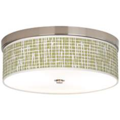 Ecru Screen Linen Giclee Energy Efficient Nickel Ceiling Light