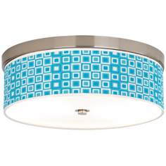 "Blue Boxes Giclee 14"" Wide Energy Efficient Ceiling Light"