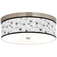 "Stacy Garcia Linear Floral 14"" Wide CFL Nickel Ceiling Light"