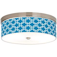 Blue Lattice Giclee Energy Efficient Ceiling Light