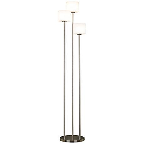 White Ribbed Glass 3-Light Torchiere Floor Lamp