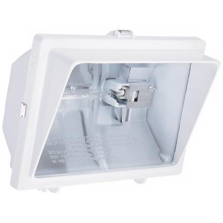 White with Light Visor Halogen Outdoor Flood Wall Light