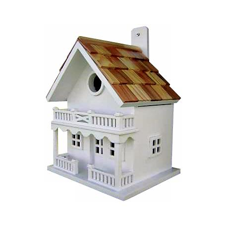 White Two-Story Cottage Bird House