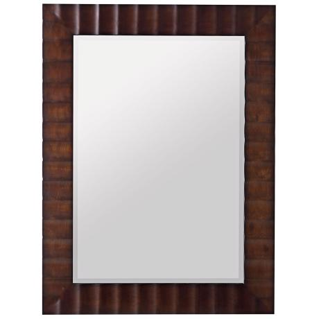 "Washed Brown Finish Scalloped 42"" High Wall Mirror"