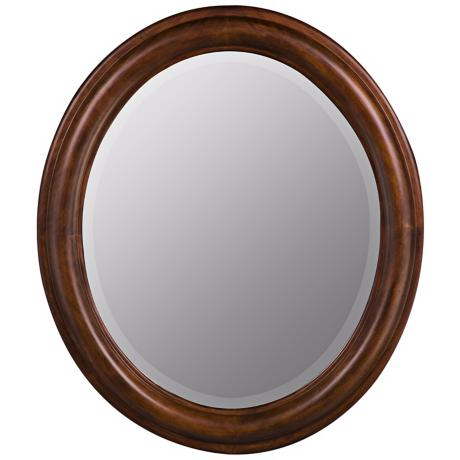 "Medium Walnut Finish Oval 30"" High Wall Mirror"