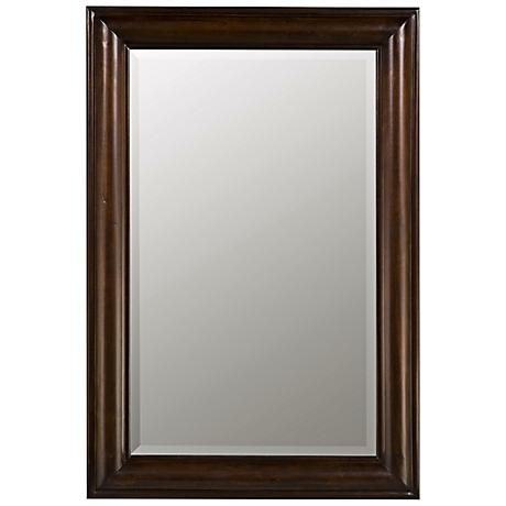 "Tobacco Finish Simple Rectangular 36"" High Wall Mirror"