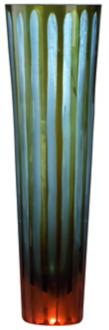 "Cyan and Orange 11 1/2"" High Art Glass Vase (H9892) H9892"