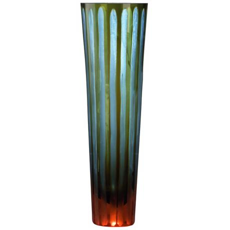 "Cyan and Orange 11 1/2"" High Art Glass Vase"