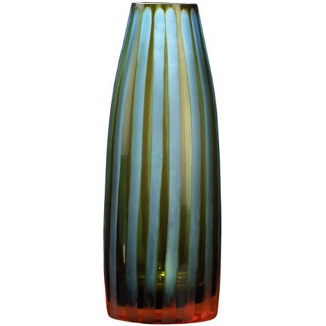 "Cyan and Orange 10 1/2"" High Art Glass Vase"