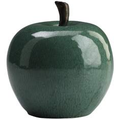 "Jade Green 6"" High Ceramic Apple"