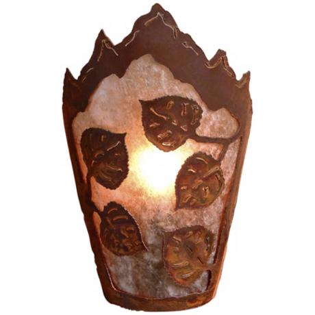 "Decatur Collection Aspen Leaf 10"" High Wall Sconce"