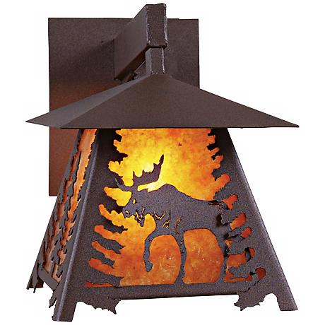"Smoky Mountain Moose 11 1/2"" High Mica Outdoor Wall Light"