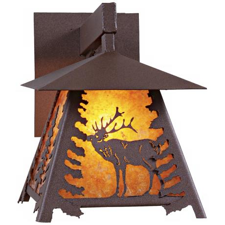 "Smoky Mountain Elk 12"" High Outdoor Wall Light"