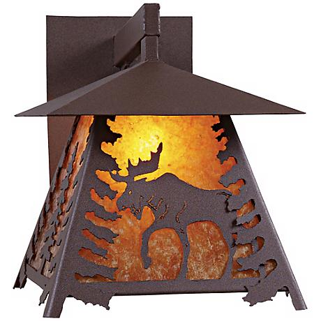 "Smoky Mountain Moose 13"" High Mica Outdoor Wall Light"