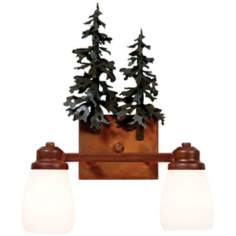 "Parkshire Collection 3D Cedar 13"" Wide Bathroom Light"