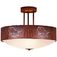 "Ridgecrest Collection Bison 17"" Wide Ceiling Light"