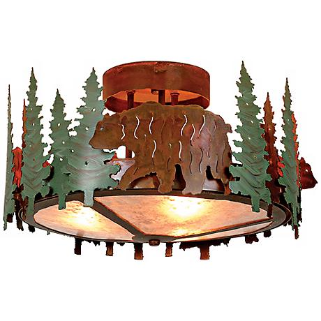 "Woodcrest Collection Bear 17"" Wide Ceiling Light"