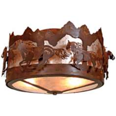 "Logen Collection Horse Mountain 17"" Wide Ceiling Light"