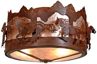 "Logen Collection Horse Mountain 17"" Wide Ceiling Light (J0572)"