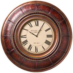 "Sanaa Embossed Frame 36"" Wide Wall Clock"