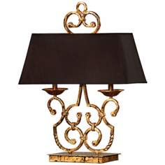 Nottingham Gold Leaf and Black 2-Light Table Lamp