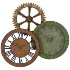 "Uttermost 3-in-1 Hand-Forged Metal 35"" Wide Wall Clock"