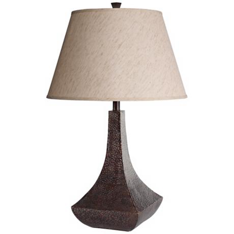 Hammered Bronze Vase Table Lamp