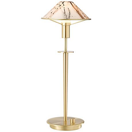 Holtkoetter Brushed Brass Marble Glass Desk Lamp
