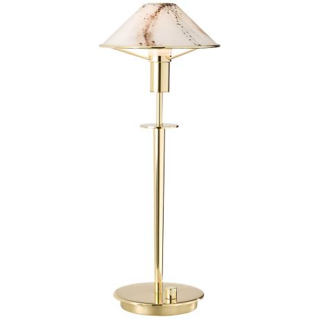 Holtkoetter Polished Brass Marble Glass Desk Lamp