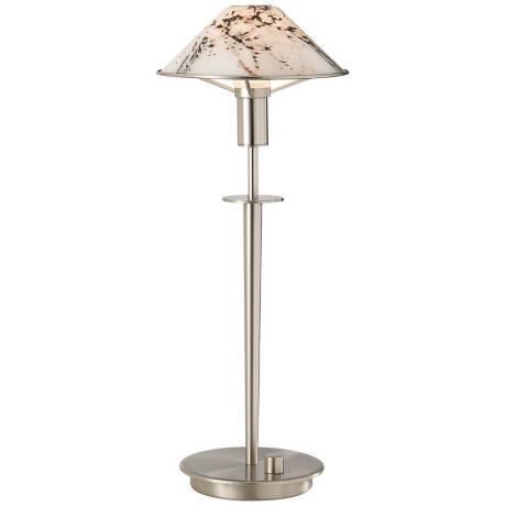 Holtkoetter Satin Nickel Marble Glass Desk Lamp