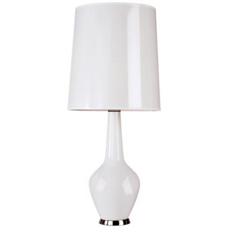 jonathan adler capri tall white glass table lamp j1769 www. Black Bedroom Furniture Sets. Home Design Ideas