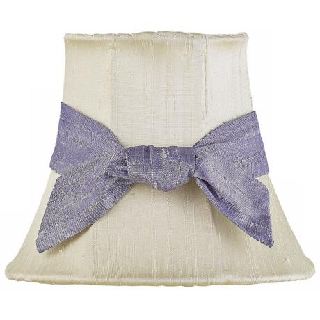 Set of Three Lavender Bow Ivory Shades 3x5x4.25 (Clip-On)