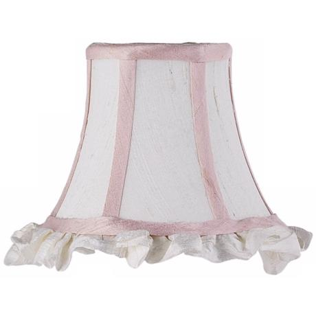 Set of Three White and Pink Silk Shades 3x5x4.25 (Clip-On)