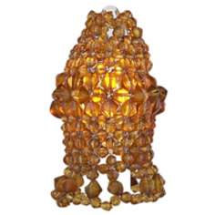 Set of Three Amber Bead Bulb Covers