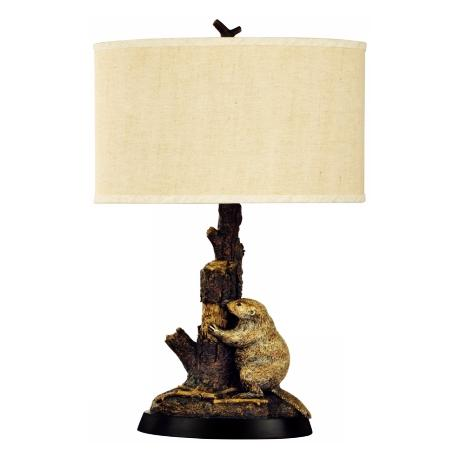 Beaver and Tree Trunk Table Lamp