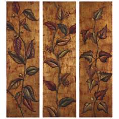 Uttermost Set of 3 Climbing Vine Hand-Painted Art Panels