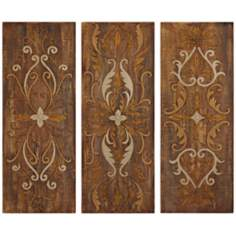 Uttermost Elegant Swirl Set of Three Wall Art Panels