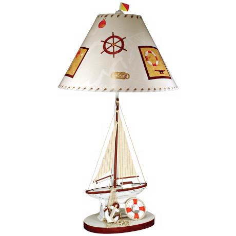 Paul Brent Burgundy Red and White Sailboat Table Lamp