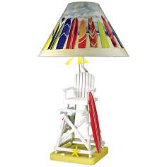 Paul Brent Lifeguard Chair Table Lamp with Yellow Base