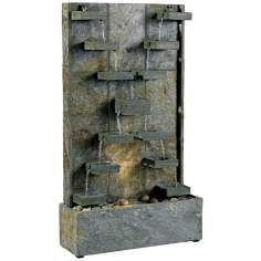 Kenroy Home Watercross Green Slate Lighted Floor Fountain