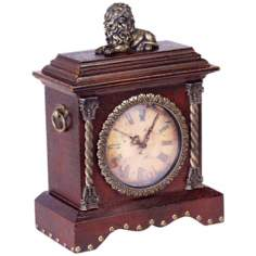 "Lion Figure Decorated 13 1/2"" Wide Desk Clock"