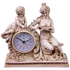 "Ivory Maiden 9 1/2"" Wide Desk Clock"