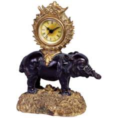 "Ebony Elephant 9 1/2"" High Desk Clock"