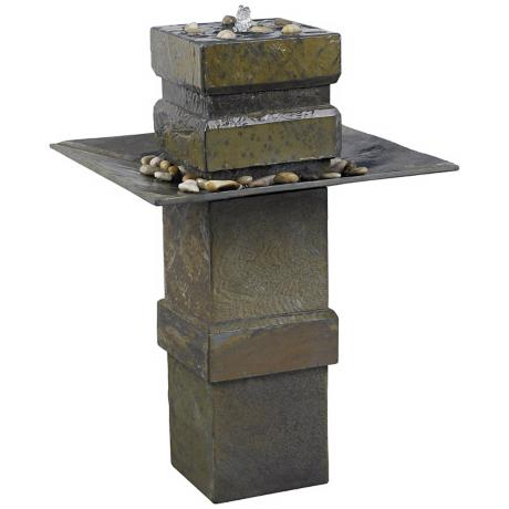 Kenroy Home Cubist Natural Slate Floor Fountain