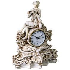"Colonial Antique Ivory 12 1/2"" High Desk Clock"