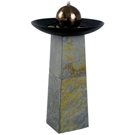 Kenroy Home Sleek Green Slate Floor Fountain