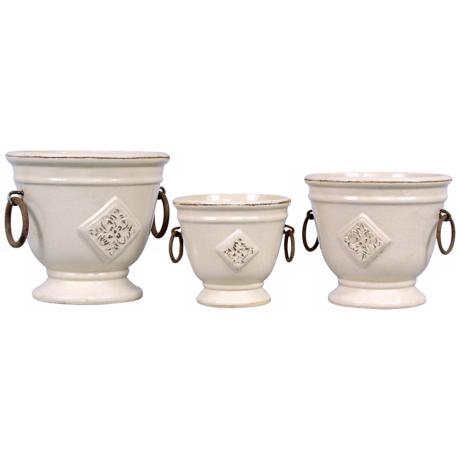 Set of Three Cream Earthenware Planters