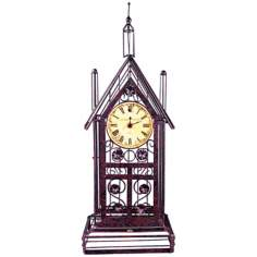 "Bronze Wire 23"" High House with Clock"