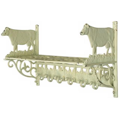 Weathered White Cow Wall Shelf